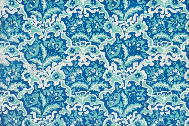 Blühende blumen vektor blaues muster hintergrund vintage-stil