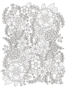 Blühende blumenmalvorlage in exquisiter linie