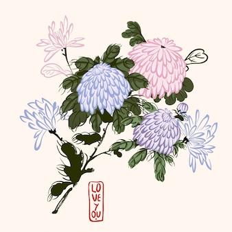 Blühende chrysantheme im chinesischen stil