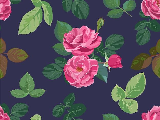 Blühende frühlings- oder sommerrosen oder pfingstrosen nahtloses muster. dekoration für femininen hintergrund, blumendruck mit schnörkel und laub. realistische zimmerpflanze in voller blüte. vektor im flachen stil