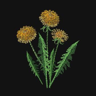 Blühende löwenzahnblume mit stichen bestickt. stickmuster mit schönen wilden wiesenblütekraut