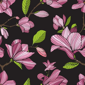 Blühende magnolie, rosa farbe auf dunklem hintergrund. hand gezeichnet bunt nahtlos