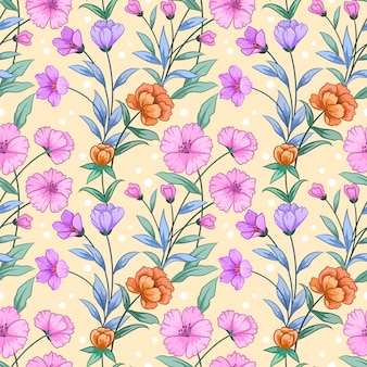 Blühende rosa und orange blumen mit grünem blatt auf gelbem hintergrund.