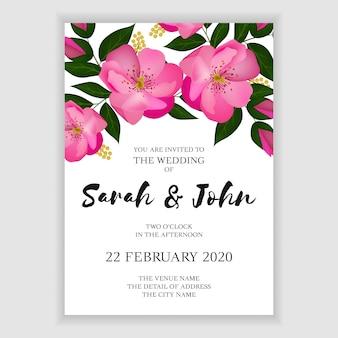 Blühende rosafarbene hochzeitseinladungs-kartenschablone