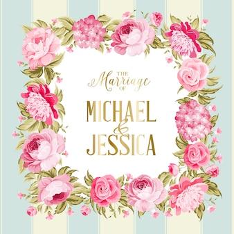 Blühende rose und hortensie-hochzeitsrahmenkarte.