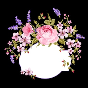 Blühende rose und lavendel auf dem schwarzen hintergrund