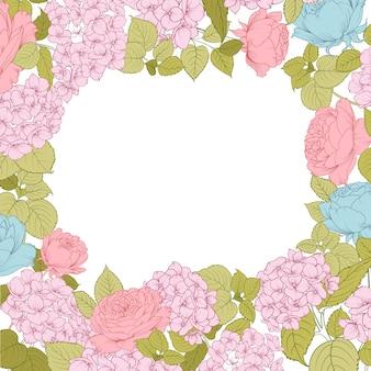 Blühende rosen- und hortensienrahmenkarte.