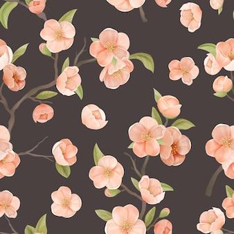 Blühende sakura-dekor für stoffkunst. kirschblüten-nahtloses muster mit blüten und blättern auf braunem farbhintergrund. tapete oder geschenkpapier dekoration, textilverzierung. vektorillustration