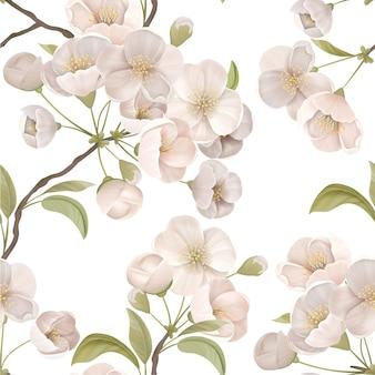 Blühende sakura-dekor für stoffkunst. kirschblüten-nahtloses muster mit blüten und blättern auf weißem farbhintergrund. tapete oder geschenkpapier dekoration, textilverzierung. vektorillustration