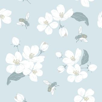 Blühender baum nahtloses muster mit blumen. frühlingsblumenbeschaffenheit.