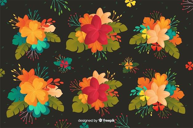 Blühender blumenhintergrund im flachen design