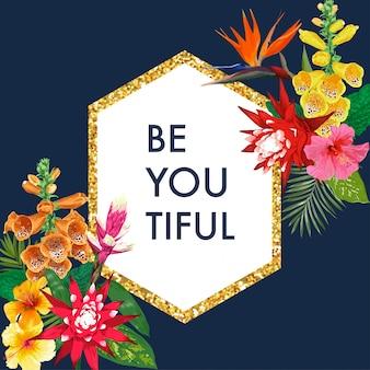 Blühender frühling und sommer-goldener blumenrahmen mit hibiskus. aquarell tiger lily blumen