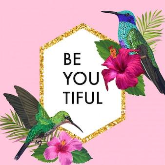 Blühender frühlings-blumenrahmen mit tropischem kolibri