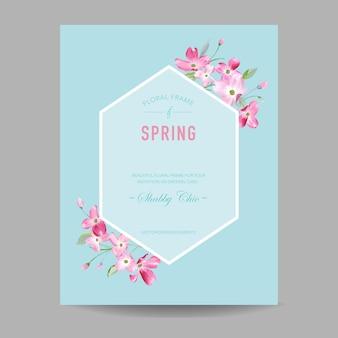 Blühender frühlings- und sommerblumenrahmen. aquarell sakura-blumen für einladung, hochzeit, babyparty-karte