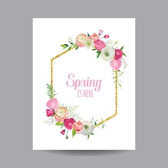 Blühender frühlings- und sommerblumenrahmen mit goldenem glitzerrand. aquarell-rosen-blumen für einladung, hochzeit, babyparty-karte in vektor in
