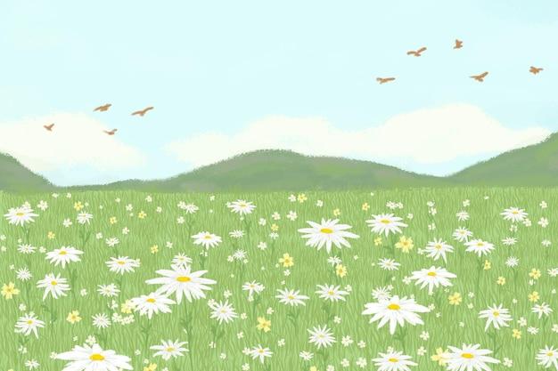 Blühender gänseblümchenfeldhintergrund mit bergfahne