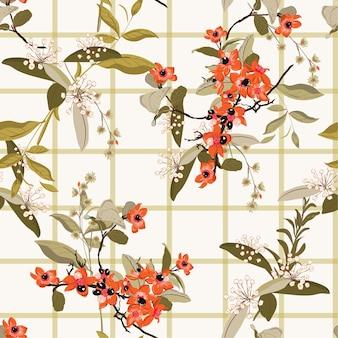 Blühender garten blüht auf nahtlosem muster der fensterkontrolle