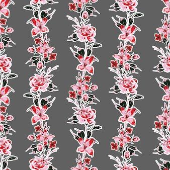 Blühender garten florale vertikale streifen, handgezeichneter floraler nahtloser mustervektor eps10, design für mode, stoff, textilien, tapeten, cover, web, verpackung und alle drucke auf grau