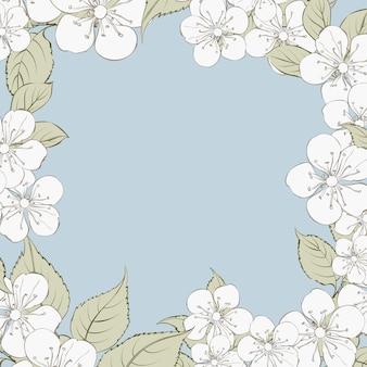 Blühender kirschblüte-rechteckrahmenhintergrund.