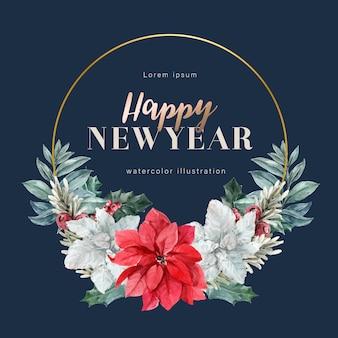 Blühender kranzmit blumenrahmen des winters elegant für die dekorationsweinlese schön