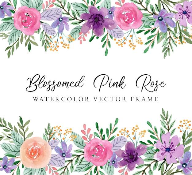 Blühender rosa rosenaquarell-blumenrahmen.