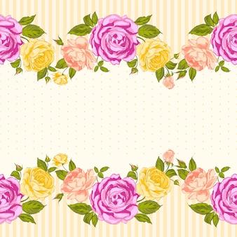 Blühender rosenhintergrund mit nahtlosem muster