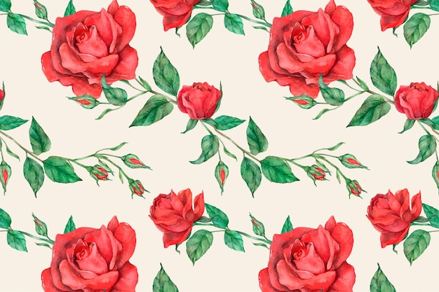 Blühender roter rosenmuster-vektorhintergrund