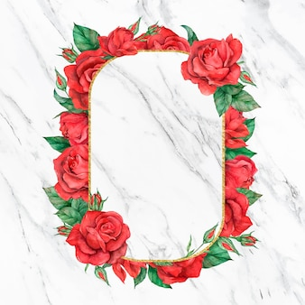 Blühender roter rosenrahmen