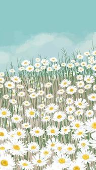 Blühender weißer gänseblümchen-blumen-handy-wallpaper-vektor