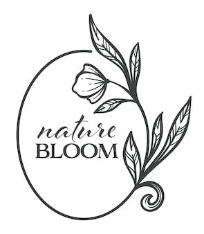Blühendes blumenbanner mit kalligraphischer inschrift und flora