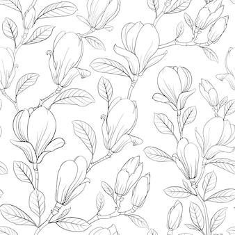 Blühendes blumenmuster der magnolie