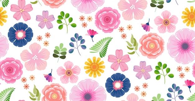 Blühendes muster der bunten blumenblume nahtlos