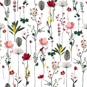 Blühendes weiches und leichtes nahtloses muster der botanischen blumen auf vektorwiederholungsdesign