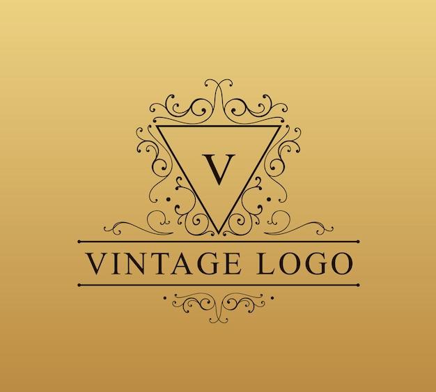 Blüht kalligraphische kombinationen retro logo