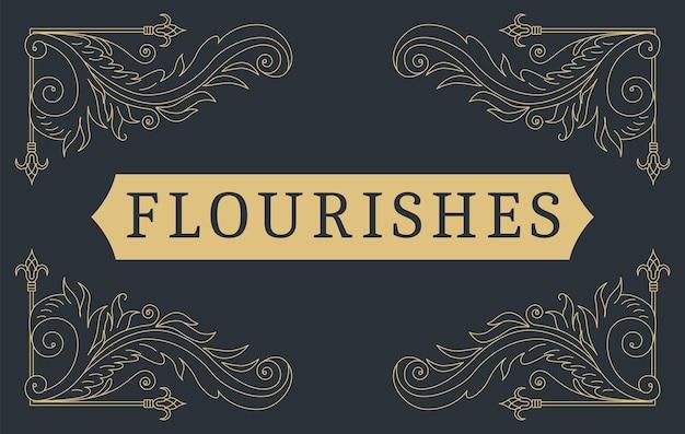 Blüht kalligraphischer vintage-zierhintergrund