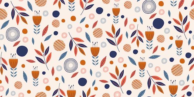 Blüht nahtloses muster mit nette hand gezeichnetem skandinavischem garten