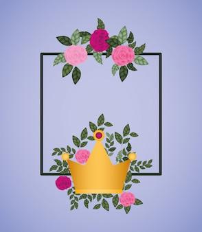 Blüht rosen mit königinkronendekoration