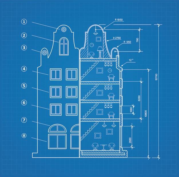 Blueprint-einrichtung Premium Vektoren