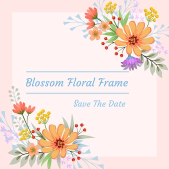 Blüte blüht rahmen einladungskarte.