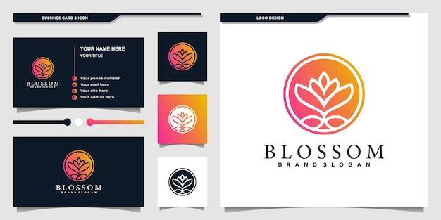Blüten-blumen-logo-design mit einzigartigem hellem farbverlauf und visitenkarte premium-vektor