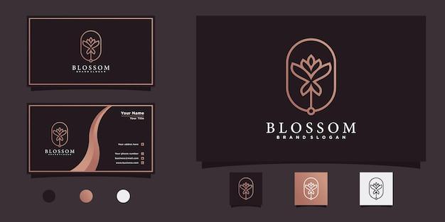 Blüten-blumen-logo-design mit minimalistischem linienkonzept und visitenkarte premium-vektor