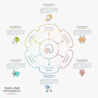 Blütenblattdiagramm mit pfeilen, die auf 6 abgerundete elemente, flache symbole und textfelder zeigen. konzept von sechs schritten des strategischen geschäftsplans. kreative infografik-design-vorlage. vektor-illustration.