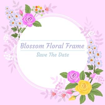 Blütenblumen im cilcle gestaltet die einladungskarte.