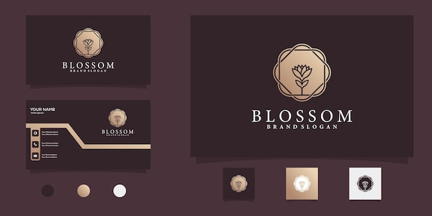 Blütenlogo für schönheit und spa mit goldener farbverlaufsfarbe premium-vektor