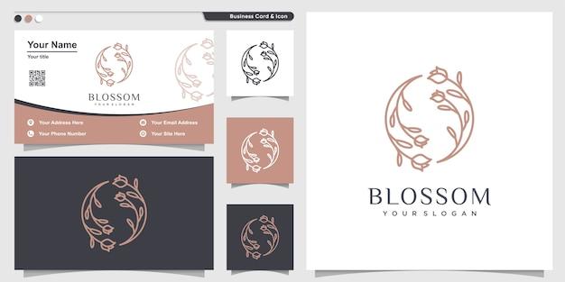 Blütenlogo mit blumenlinienkunststil und visitenkartenentwurfsschablone