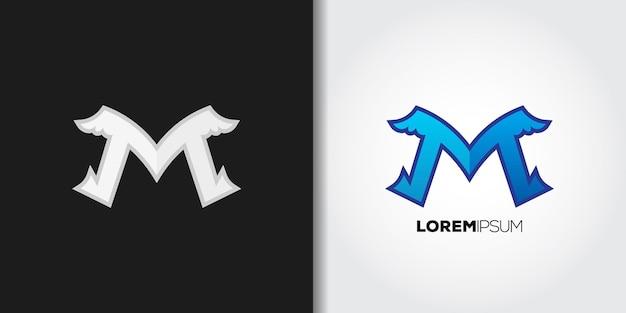 Bluewings buchstabe m logo