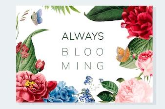 Blühende Blumenrahmenillustration immer