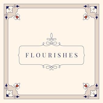 Blüht Weinleseverzierungs-Rahmenillustration