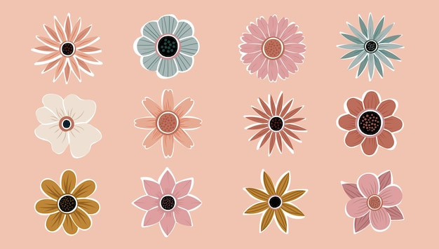 Blume einfache abstrakte handgezeichnete verschiedene formen wildblumen eingestellt. botanische natur blüht objekte zeitgenössischen modernen trendigen vektor. sammlung von elementen abbildung.