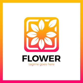 Blume im quadratischen rahmen-firmenzeichen. gliederung medien natur